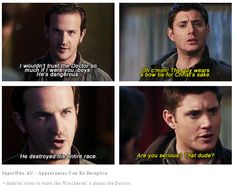 .gif - Dean underestimates the Doctor - by doomslock.tumblr.com