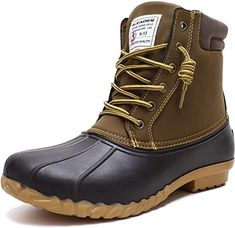 Amazon.com | ALEADER Duck Boots Men Insulated Waterproof Winter Boots Cold Weather Snow Boots Tan 10 US | Snow Boots Duck Boots Mens, Mens Rain Boots, Men Boots, Best Mens Winter Boots, Winter Snow Boots, Winter Rain, Waterproof Motorcycle Boots, Waterproof Winter Boots, Stylish Boots For Men