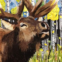 When the Aspens Turn by Cindy Seitz-Krug. 2015 AQS quilt show- Paducah. Closeup photo by Quilted Joy.