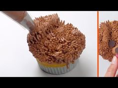 A woman paints on her muffins. Sweet Desserts, No Bake Desserts, Dessert Recipes, Owl Cakes, Bear Cakes, Cute Food, Good Food, Cake Decorating Icing, Dog Cupcakes