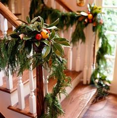 Sometimes all you really want for Christmas is a touch of tradition! Beautiful trees, wreaths and swags of garland, accentuated with ornamen. Christmas Staircase, Christmas Mantels, Noel Christmas, Christmas Design, Winter Christmas, All Things Christmas, Christmas Wreaths, Christmas Decorations, Holiday Decorating
