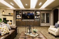 Basement interior design and decorating ideas. Contemporary and modern with a little bit of rustic. Best of Omaha Interior Design and Decorating. Basement Built Ins, Rustic Basement, Basement Layout, Best Of Omaha, Dream House Interior, Family Room Design, Dream House Plans, Modern, Contemporary