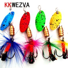 KKWEZVA 4PC 5cm 2.4g Fishing Lure Metal Alloy Peche Hard Lure With Sound Slice Wobbler Carp Fishing Tackle Spinner Gear Bait #Affiliate