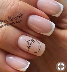 Give life to your nude nails by adding white polish on the tips with flower details on them French Nails, Gel French Manicure, Manicure And Pedicure, Nude Nails, Pink Nails, Acrylic Nails, Gel Nails, Nail Polish, Coffin Nails