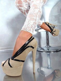 Fashion beige and black high #heel shoes