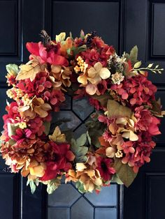 A personal favorite from my Etsy shop https://www.etsy.com/listing/246438839/fall-wreath-hydrangea-wreath