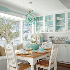 25 Beautiful, Space-Saving Built-Ins - Pop of Color – Space-Saving Built-Ins – Coastal Living Best Picture For home decorations blue - House Styles, Beach Cottage Style, Coastal Dining Room, Coastal Living Rooms, Beach Cottage Decor, Coastal Bedrooms, Interior Design, Home Decor, Coastal Kitchen Design