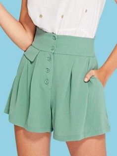 outfits with shorts Shop Wide Waistband Button Up Skirt Shorts online. SheIn offers Wide Waistband Button Up Skirt Shorts & more to fit your fashionable needs. Short Outfits, Stylish Outfits, Cute Outfits, Button Up Skirts, Look Thinner, Type Of Pants, Short Waist, Short Skirts, Fashion Dresses