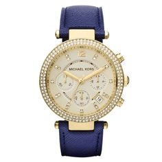 Michael Kors Women's MK2280 Parker Goldtone/ Navy Leather Watch - Brown | Overstock.com Shopping - The Best Deals on Michael Kors Women's Watches