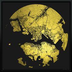 Gold Mappa Mundi Hong Kong by Ewan David Eason | Oeuvre d'Art en Vente Artsper #goldleaf #map #hongkong