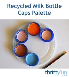 The caps off of milk bottles are just right for use in making an impromptu palette for your next craft painting project. This is a guide about how to make a recycled milk bottle cap palette. Uses For Plastic Bottles, Plastic Bottle Caps, Bottle Cap Art, Bottle Cap Projects, Bottle Cap Crafts, Diy Bottle, Pop Bottles, Palette, Crafts To Make And Sell