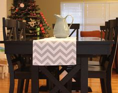 Zig Zag Table Runner   Grey Chevron  Chevron by fourbugsinarug, $18.00