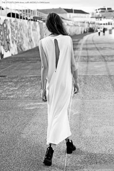 White cut-out back maxi dress #style #fashion