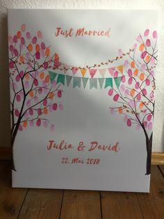 Hochzeitsgästebuch - Wedding Tree Fingerabdruck Gästebuch Hochzeit Baum - ein Designerstück von Lisa_und_Anuschka bei DaWanda