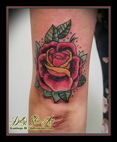 eba674644 colour traditional style rose flower tricep arm red yellow green tattoo  kamloops tattoo dolly's skin art