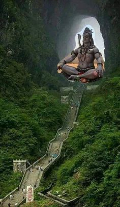 Perhaps the Stairs to the Heaven in South East China ----the pic of Shiva is super imposed .Could be .