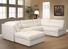 Diamond Modern White Leather  U  Shaped Sectional Sofa w/ Lights | Leather sectional sofas Leather and Sectional sofas : white couch sectional - Sectionals, Sofas & Couches