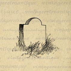 Grave Stone Digital Image Download Printable Graphic Vintage Clip Art. High quality, high resolution digital image for fabric transfers, making prints, pillows, papercrafts, tea towels, tote bags, and more. Real vintage artwork. This image is high quality and high resolution at size 8½ x 11 inches. Transparent background version included with all images.