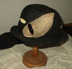 Vintage late 1920's or 1930's horsehair cloche hat.  Never worn with original tags.