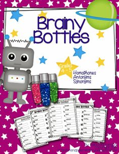 They're Here! Brainy Bottles Class Sets for grades 4 to 5. Bottle search for plural matching homophones, synonyms, and antonyms. Perfect for centers and small groups. $