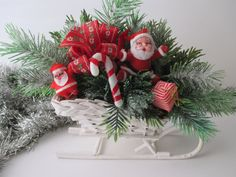 Vintage plastic CHRISTMAS decoration with Santa in by JunqueDuJour, $14.95