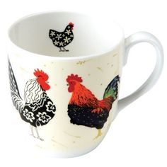 Rooster Kitchen Decor takes the shape of an adorable coffee mug. I love the colors and the fact that there is a little rooster on the inside. Adorable!