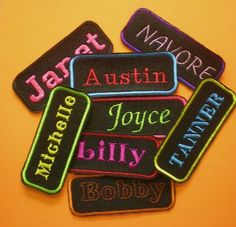 Embroidered Name Tag, Iron On Appliques, 2 by 5 inches, Name Patch, All  Colors, Personalize Clothing and other items