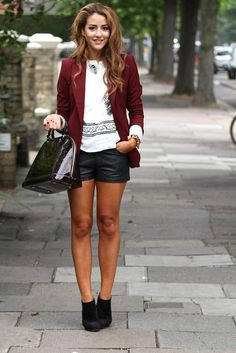Leather shorts and heeled black booties