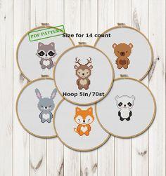 Cross Stitch Baby, Simple Cross Stitch, Cross Stitch Animals, Modern Cross Stitch, Cross Stitch Embroidery, Baby Bibs Patterns, Nursery Patterns, Halloween Gift, Woodland Animals