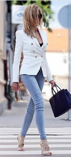 #summer #outfits White Blazer + Skinny Jeans