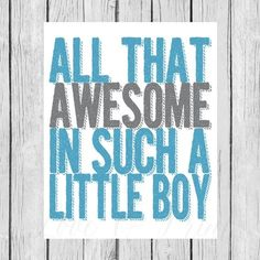 All That Awesome in One Little Boy Blue and Gray by LoveandPrint