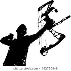 A vector silhouette of a hunter with a bow and arrow just after release Bow Stabilizer, Wooden Spoon Crafts, Royalty Free Images, Royalty Free Stock Photos, Arrow Drawing, Bow Hunter, Tattoo Drawings, Tattoos, Pyrography