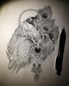 75 Easy And Cool Drawing Ideas For Beginners To Try Buzz Hippy Bird Drawings, Pencil Art Drawings, Cool Drawings, Peacock Tattoo, Peacock Art, Pfau Tattoo, Flor Tattoo, Kitten Drawing, Kitten Images