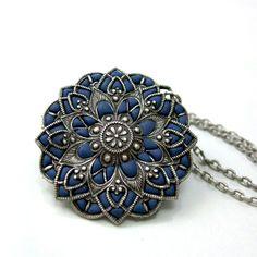 Blue pendant mandala flower shaped silver by AndreaBacmanJewelry
