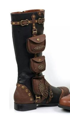 Ladies Steampunk Gypsy Boho Boots One Inch Heels- I want these for my steampunk costume, and I would totally wear them out to shows. 'cause they are totally badass, and they have pockets! Steampunk Cosplay, Steampunk Shoes, Mode Steampunk, Style Steampunk, Victorian Steampunk, Steampunk Clothing, Steampunk Fashion, Gothic Fashion, Emo Fashion