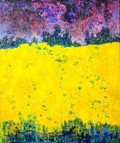 ARTFINDER: Rapsfeld Malerei Ölbild 120 x 100 cm by Volker Mayr - Rapsfeld - Landschaft, Natur im Stil des abstrakten Expressionismus. Ölgemälde in den kräftigen Farben von Raps vor dramatischen Gewitterwolken, die das Gel...
