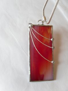 Red And Orange Stained Glass Pendant