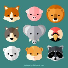 Lovely wild animal avatars in flat design Free Vector