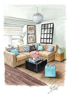 34 Boho Home Decorations To Inspire Today - Home Decor Ideas Interior Architecture Drawing, Interior Design Renderings, Drawing Interior, Interior Rendering, Interior Sketch, Architecture Design, Illustration Mode, Illustrations, Furniture Design