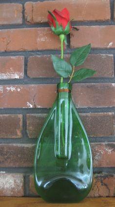 Recycled Glass Bottle Hanging Vase by TwiceBakedArts on Etsy