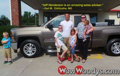 """Carl Mercer from Chillicothe, Missouri purchased this 2014 Chevrolet Silverado and wrote, """"5 stars. Jeff Henderson is an amazing sales adviser. He is very helpful in finding the right vehicle for you. Thanks again."""" To view similar vehicles and more, go to www.wowwoodys.com today!"""