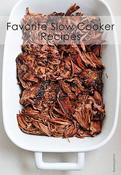 Favorite Slow Cooker Recipes from addapinch.com - vegetable soup, BBQ pork chops, balsamic roast beef, espresso roast beef, chicken enchiladas, pork roast, chicken tortilla soup, overnight oatmeal, & slowcooker grits.