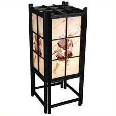 """Oriental Furniture 18"""""""" Samurai Shoji Lamp (70 CAD) ❤ liked on Polyvore featuring home, lighting, table lamps, black frame, asian table lamps, oriental style lamps, black lantern, black lamp and asian inspired lamps"""