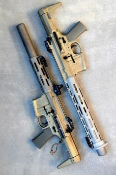 AAC Honey Badger. 6 inch barrel, integrally suppressed. Chambered in .300 Blackout, a real up-and-comer in the realm of sub/super sonic swinging rounds. A really versatile weapon.