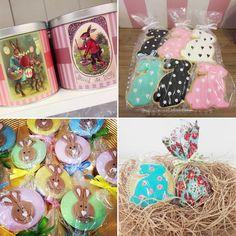 produtos de páscoa decorados para colocar na latinha de coelho por maria bolo