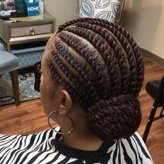 Flat Twist Bun ❤️ #africanamericanbraids