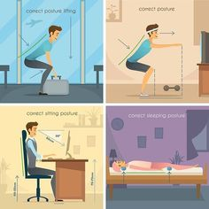 Buy Posture Design Concept by macrovector on GraphicRiver. Posture design concept set of correct lifting squats sitting and sleeping poses flat vector illustration. Causes Of Back Pain, Lower Back Pain Relief, Sitting Posture, Bad Posture, Sleeping Pose, Different Types Of Arthritis, Good Back Workouts, Hand Therapy, Better Posture