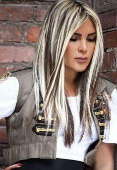 chunky white highlights for Dark Brown Hair