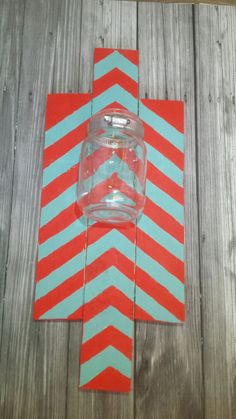 Red andTurquoise hanging Pallet sign with a by RusticXpressions