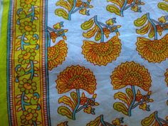 Indian Cotton Fabric Block Print Cambric Pure Yellow Red by RaajMa